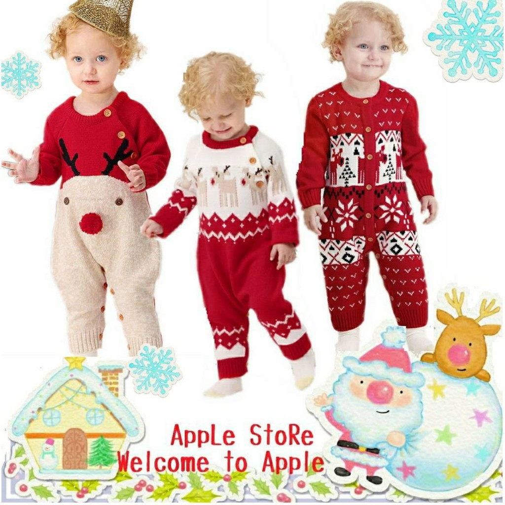 聖誕服飾 小童 聖誕毛線針織絕美長袖兔裝【蘋果小舖】(MC) 1911 A0
