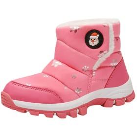[Y-BOA] 子供靴 スノーシューズ ムートンブーツ ショートブーツ ウィンターブーツ 裏ボア 防寒 防水 雪花柄 キッズ ジュニア 男の子 女の子 滑り止め 雪遊び スキー 冬用 ピンク 20.0cm