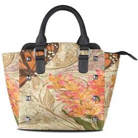 蝶の黄色い花クロスボディバッグレザーハンドバッグサッチェル財布メイクアップトートバッグ女性用女の子