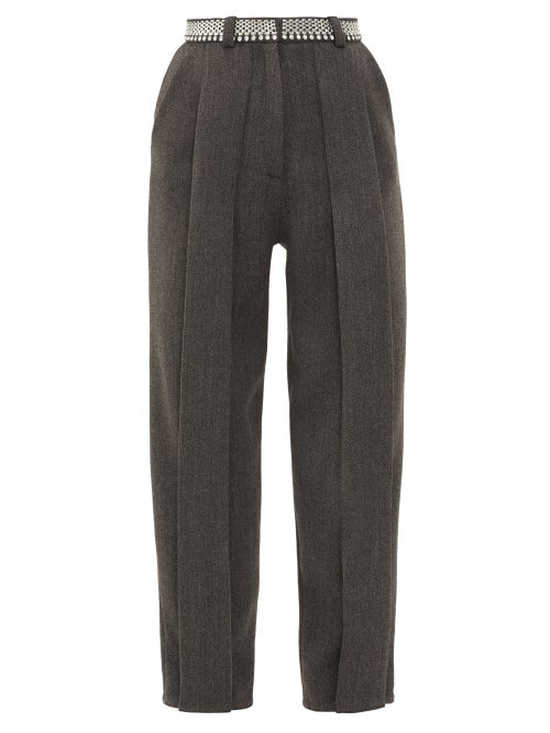 Christopher Kane - Chain-belt Pleated Twill Trousers - Womens - Black