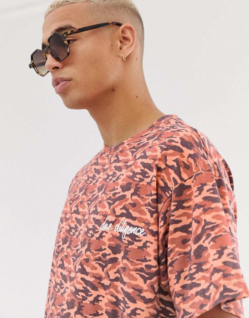 Due Diligence t-shirt in camo print-Orange