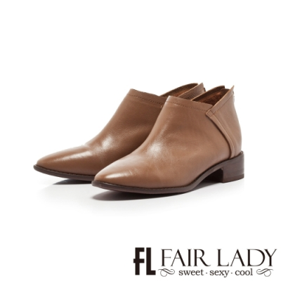 Fair Lady 縫線皮革拼接後拉鍊低跟短靴