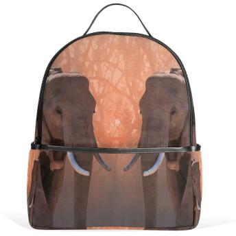 リュック リュックサック バックパック レディース 学生 大容量 デイバッグ 夕陽 森 象 動物 おしゃれ 通勤 通学