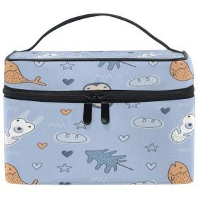 La Rose 化粧箱 化粧ポーチ 大容量 おしゃれ 魚 ペンギン 軽量 小物入れ 持ち運び かわいい 多機能 コスメポーチ メイクポーチ 収納バッグ 出張 旅行 プレゼント