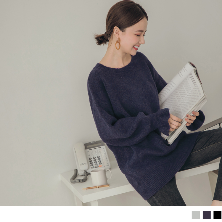 純色質感親膚荷葉袖口細針織長袖毛衣/上衣