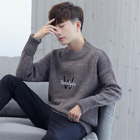 針織衫 毛衣秋冬季半高領毛衣男士韓版潮流青少年男生加厚款寬鬆針織衫