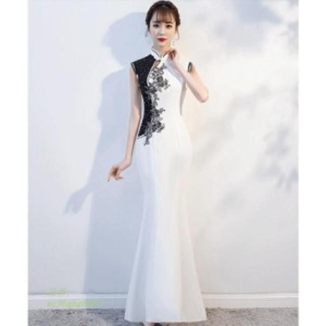 上品 ドレス 披露宴 結婚式 刺繍 パーティードレス エレガント ワンピース キレイめ 20代30代 ロング 成人式 ホワイト 二次会 着痩せ タ