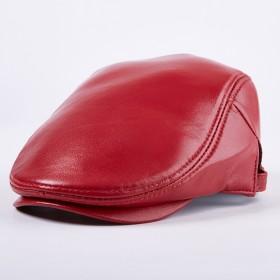 Letaotiyu ユニセックスレザーシープスキンキャップ男性と女性の秋冬シングルキャップコットンキャップ保温キャップ 新 (Color : Red, Size : L)
