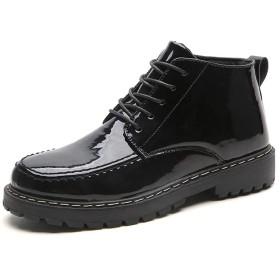 [QTMIAO-Shoes] レザーブーツの男性、男性マイクロファイバーレザー滑り止めフラット戦闘作業靴の特許オックスフォードハイトップブーツ防水レースアップラウンドトウ (Color : ブラック, サイズ : 24.5 CM)