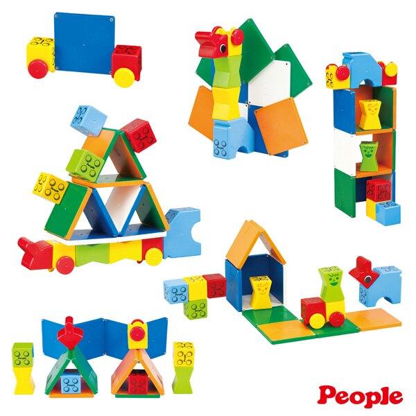 【總代理出貨】日本 People 益智磁性積木BASIC系列 - 1歲的積木組合(STEAM教育玩具)