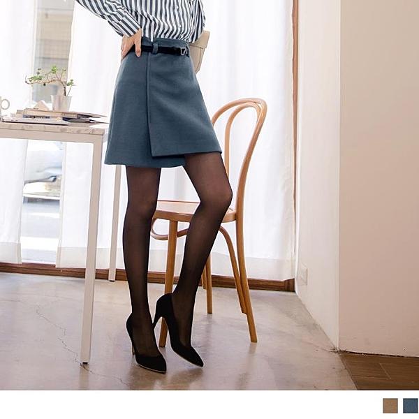 《CA1773-》毛呢一片式後拉鍊附皮帶質感短裙 OB嚴選
