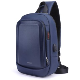ACLUO ボディバッグ メンズ 斜め掛け 大容量 防水 ワンショルダー 肩掛けバッグ 軽量 ipad 収納可能 (青)