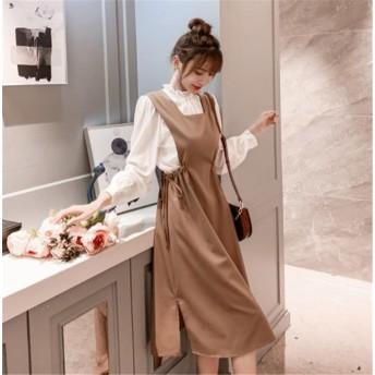 \いまだけの超SALE価格 /韓国ファッション 気質 大人気 おしゃれな トレンド 新品 フリル シャツ 百掛け サスペンダースカート 2点セット