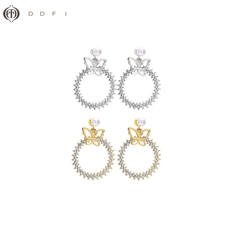 蝴蝶 滿鑽 耳環【DDFI】IG韓國珍珠滿鑽圓圈設計感小眾復古B4D12
