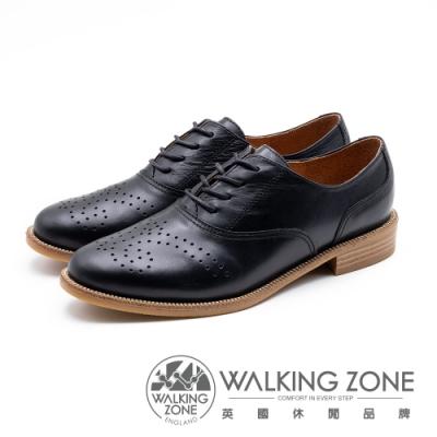WALKING ZONE 壓花style牛津鞋 女鞋-黑(另有棕)