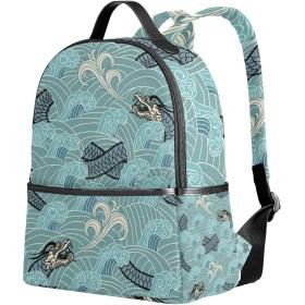 リュック リュックサック バックパック レディース 学生 大容量 デイバッグ 海 波 龍 動物 おしゃれ 通勤 通学