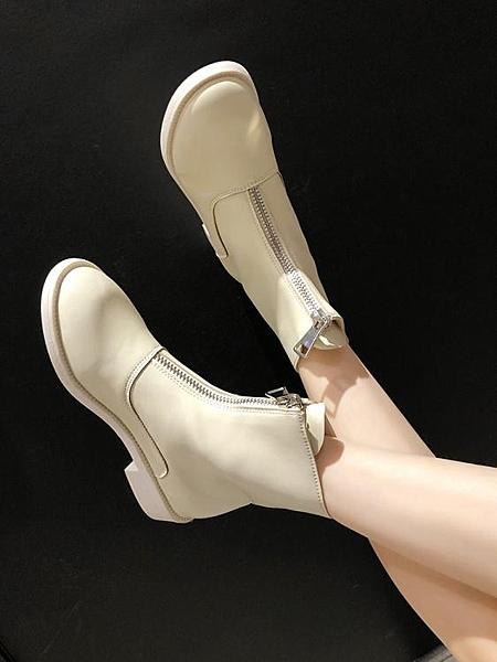 短靴 女春秋新款靴子女中跟粗跟網紅前拉?英倫風馬丁靴女單靴【快速出貨】