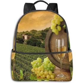 赤ワインとブドウ リュック バックパックリュックサック 大容量 PCバッグ レジャーバッグ 旅行カバン 登山リュック ビジネスリュック ユニセックス おしゃれ 人気