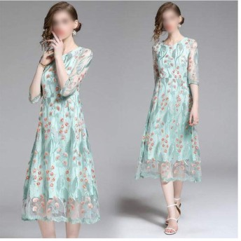 気質スリムフィット膝重い仕事刺繍メッシュ透かし彫りラウンドショートスリーブセクシーなドレス (色 : Light Green, サイズ : S)