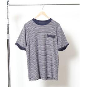 (coen/コーエン)カラーインレイクルーネックTシャツ/メンズ NAVY