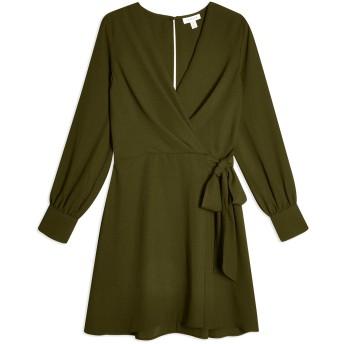 《セール開催中》TOPSHOP レディース ミニワンピース&ドレス ミリタリーグリーン 6 ポリエステル 100% TWIST FRONT MINI DRESS