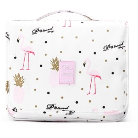 トラベルトイレタリーバッグを使用して男性と女性の化粧品袋のためのフックバッグ (フラミンゴ-P)