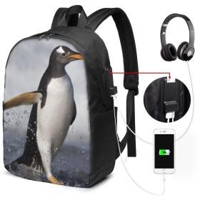 ランニングペンギン リュック バックパックリュックサック USB充電ポート付き イヤホン穴付き 大容量 PCバッグ レジャーバッグ 旅行カバン 登山リュック ビジネスリュック ユニセックス おしゃれ 人気