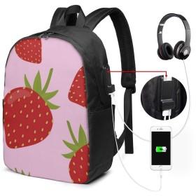 イチゴ柄ピンクの背景 リュック バックパックリュックサック USB充電ポート付き イヤホン穴付き 大容量 PCバッグ レジャーバッグ 旅行カバン 登山リュック ビジネスリュック ユニセックス おしゃれ 人気