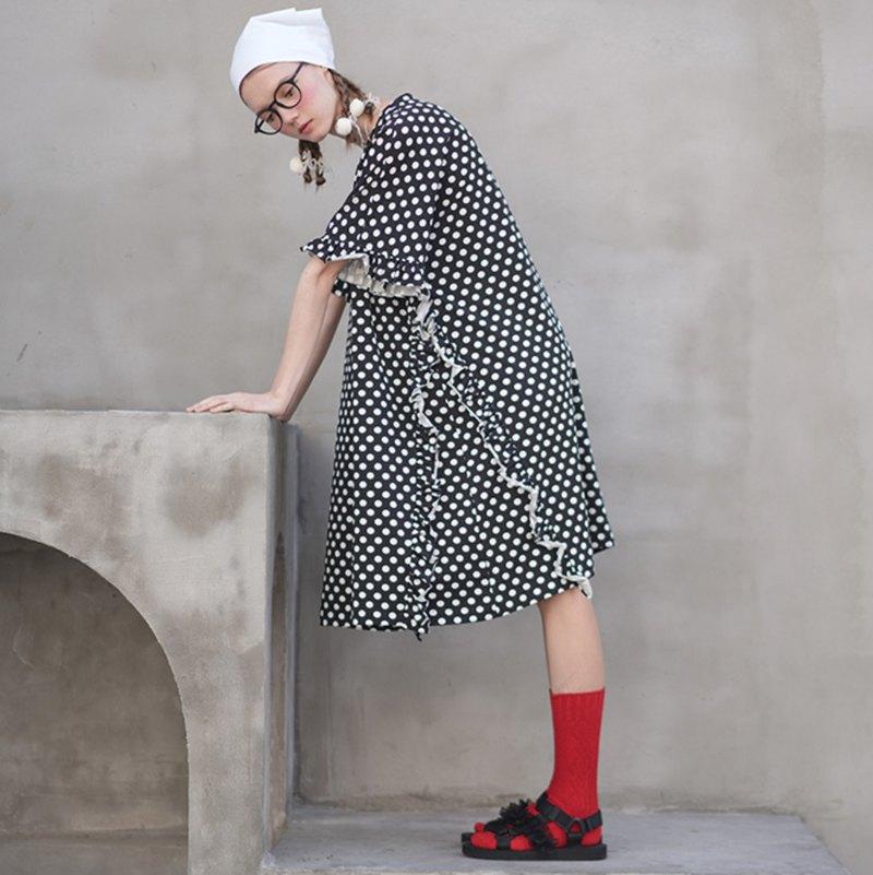 小點點花邊連身裙-黑白底兩色可選 - imakokoni