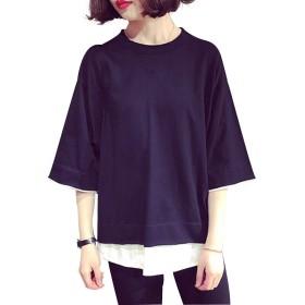 レディース ゆったり Tシャツ ビッグシルエット 半袖 レイヤード シャツ 無地 Tシャツ シンプル レディース