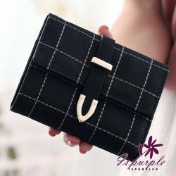 【iSPurple】刺繡格紋*多格卡片抽帶短夾/黑