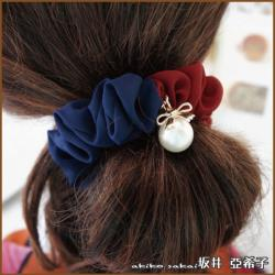 【Akiko Sakai坂井亞希子】氣質優雅雙色蝴蝶結珍珠垂墜造型髮圈
