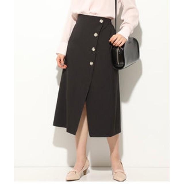 SALE開催中【ViS:スカート】【EASY CARE】フロントボタンアシンメトリースカート