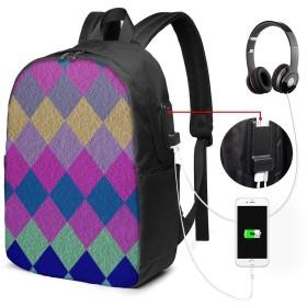 カラーダイヤモンド リュック バックパックリュックサック USB充電ポート付き イヤホン穴付き 大容量 PCバッグ レジャーバッグ 旅行カバン 登山リュック ビジネスリュック ユニセックス おしゃれ 人気