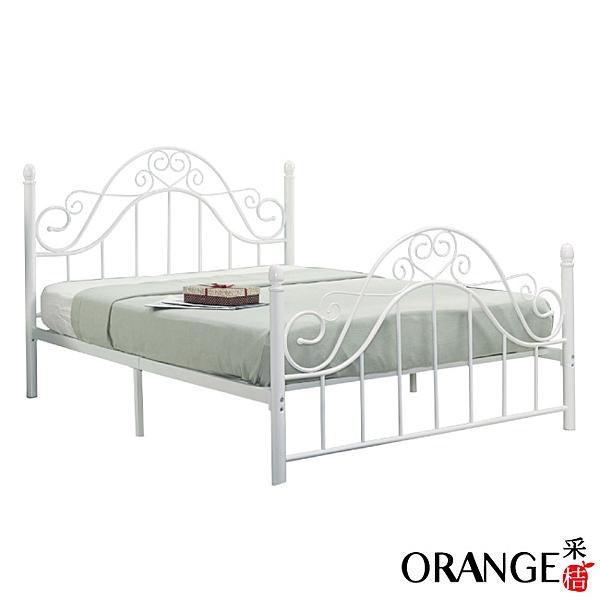 【采桔家居】歐特 時尚白5尺鐵製雙人床台(不含床墊)