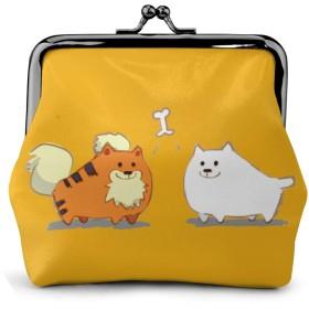 小銭入れ ミニ財布 コインケース ミニポーチ お札入れ タイガー 犬 骨 柄 小さい財布 PUレザー 小型でコンパクト 軽量 コイン 鍵 カード収納 約幅11.5cmx丈10.5cm