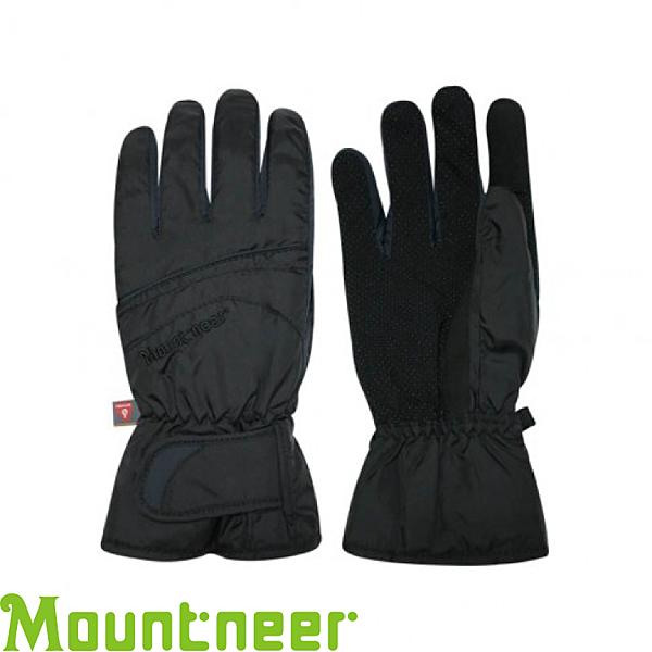 【Mountneer 山林 PRIMALOFT防水觸控手套《黑/灰》】12G07/防風/可觸控/騎車手套