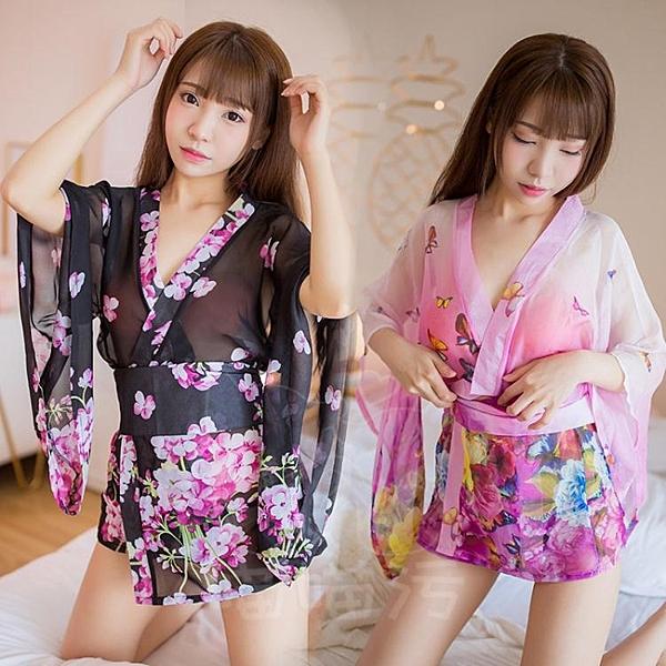 浴衣 漸變和服浴衣透明日本睡衣日式性感女裝印櫻花【快速出貨】