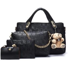 KUUQA 女性ハンドバッグトップハンドルサッチェルショルダートートバッグ財布セット4個
