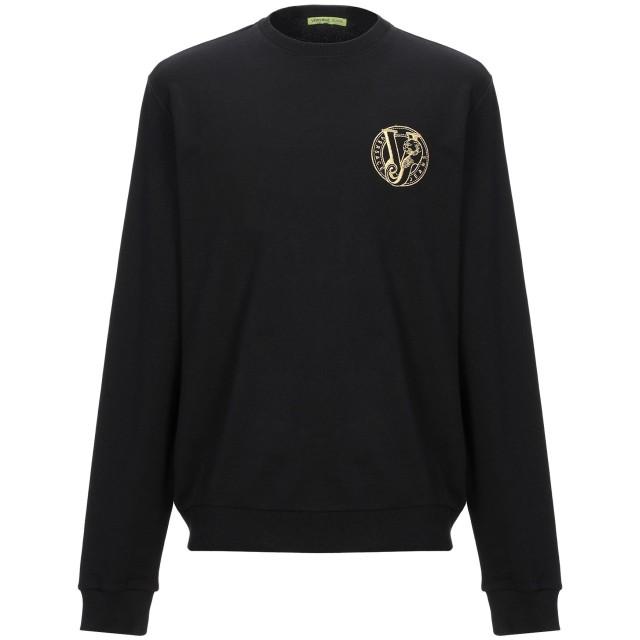 《セール開催中》VERSACE JEANS メンズ スウェットシャツ ブラック S コットン 100%