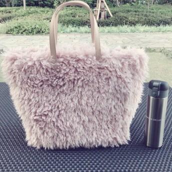 大人気のモコモコトートバッグ 帆布 ピンク Lサイズ