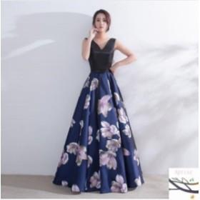 パーティドレス 結婚式 ドレス ロングドレス ウェディングドレス 二次会 大きいサイズ 忘年会 花柄 ロング丈 パーティードレス お呼ばれ