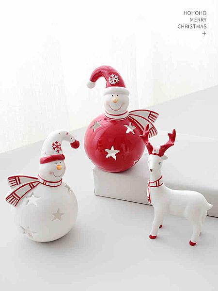 聖誕裝飾 北歐陶瓷聖誕雪人擺件創意燭台 聖誕鹿禮物禮品聖誕節裝飾品