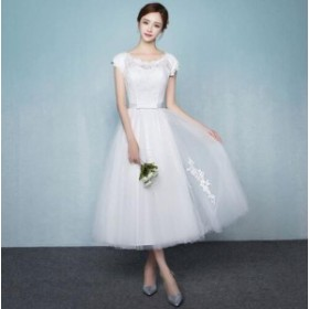 ミモレ丈ドレス ウェディングドレス ミモレ丈 レース 結婚式 白ワンピース 二次会 花嫁 編み上げタイプ 忘年会 エンパイア 結婚式 お呼ば