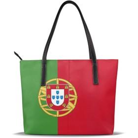 トートバッグ ポルトガル国旗 レディースバッグ PUレザー 手提げ 肩掛け かばん 通勤 軽量 大容量 A4 ビジネス 通学 プレゼント