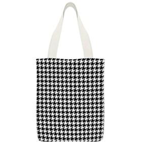 ブラックホワイト千鳥格子柄ツイン布団カバー読者のための再利用可能な洗える100%エコフレンドリーなトートバッグ、および愛好家旅行バッグ、ショッピングバッグ