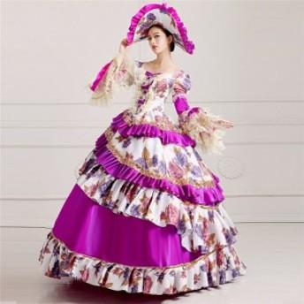舞台 中世 貴族 衣装 豪華ロングドレス ステージ衣装としても最適 人気お姫様ドレス レース プリンセスライン 公爵夫人 歌劇 結婚式 お呼