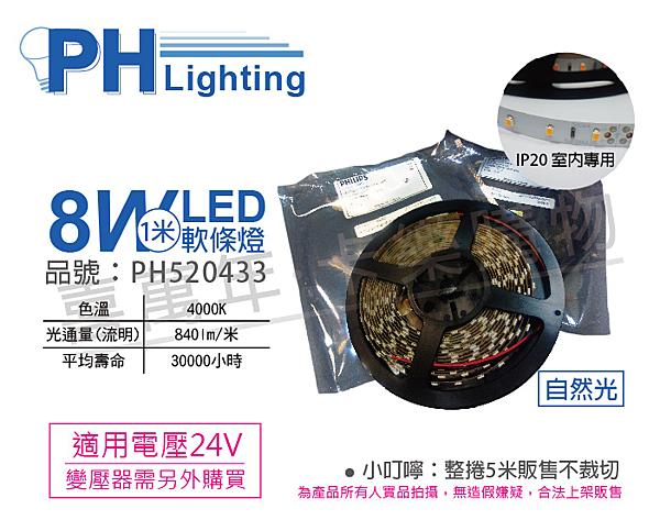 PHILIPS飛利浦 LS170S 8W 4000K 自然光 24V 5m 燈帶 燈條 軟條燈 _ PH520433