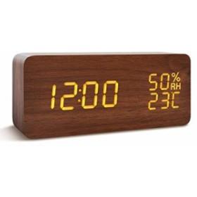 [新品]FIBISONIC 置き時計 LED時計 目覚まし時計 アラームクロック 音声感知 カレンダー付き 温度湿度計 3つの給電方法 蓄電可能 USB給