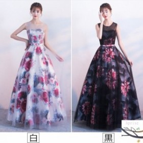 ロングドレス 花柄 演奏会 結婚式 パーティドレス お呼ばれ ピアノ 二次会ドレス ドレス 発表会 ウェディングドレス フォーマル パーティ